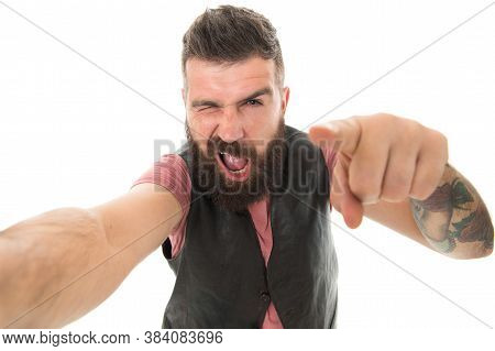 Guy Expressing Success. Hipster With Beard Brutal Guy. Product Recommendation Concept. Beard Groomin