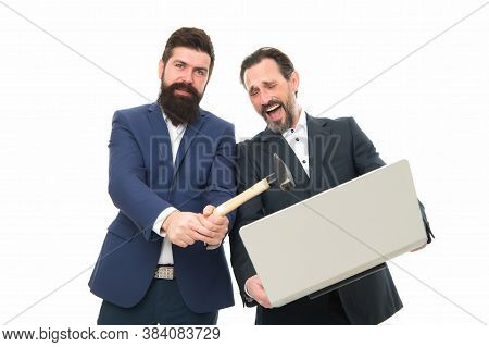 Password Hack. Businessmen Break Or Hack Computer. Hackers Hold Laptop And Hammer. Computer Hacking.