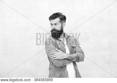 Charismatic Barber With Beard And Mustache. Personality And Character. Charisma Concept. Bearded Wel