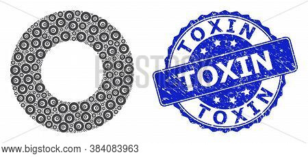 Toxin Unclean Round Stamp Seal And Vector Recursive Mosaic Donut. Blue Stamp Seal Has Toxin Text Ins