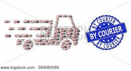 By Courier Grunge Round Stamp Seal And Vector Fractal Mosaic Delivery Car Chassi. Blue Stamp Seal Co