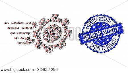 Unlimited Security Textured Round Seal And Vector Fractal Collage Gear. Blue Seal Includes Unlimited