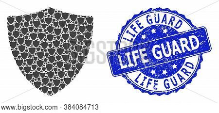 Life Guard Dirty Round Stamp Seal And Vector Recursion Collage Protection Shield. Blue Stamp Seal Co