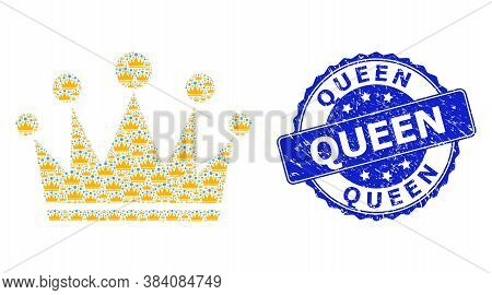Queen Corroded Round Stamp Seal And Vector Recursive Collage Crown. Blue Stamp Seal Contains Queen T