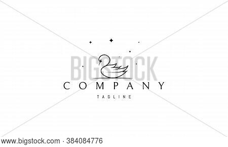 Vector Logo On Which An Abstract Image Of A Swan Under The Stars.