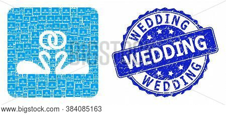 Wedding Scratched Round Stamp Seal And Vector Recursive Collage Wedding Swans. Blue Stamp Contains W