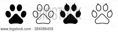 Dog Or Cat Paw Vector Different Flat Icons. Paw Foot Trail Print.