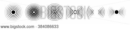 Set Of Different Radar Icons. Signal Icon Vector. Sound Waves.