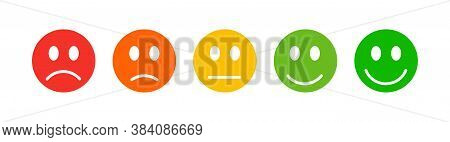 Set Five Faces Scale. Feedback In Form Of Emotions. Emotions Range Vector Icon.