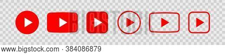 Play Video Icon, Red Different Buttons Sign Isolated On Transparent Background . Vector Illustration