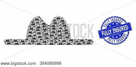 Fully Insured Rubber Round Seal Print And Vector Recursive Mosaic Hat. Blue Stamp Seal Includes Full