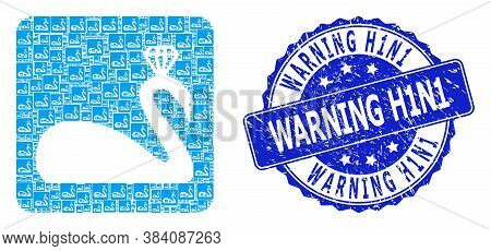 Warning H1n1 Rubber Round Stamp Seal And Vector Recursion Mosaic Crowned Swan. Blue Stamp Includes W