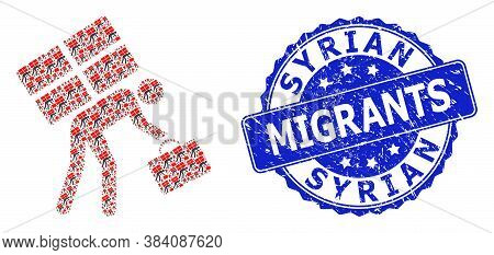 Syrian Migrants Unclean Round Stamp Seal And Vector Recursion Collage Refugee Person. Blue Stamp Sea
