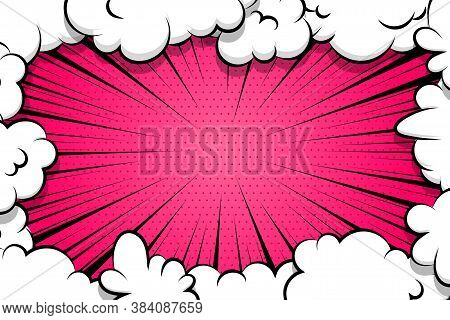 Comic Book Cartoon Speech Bubble For Text. Cartoon Puff Cloud Pink Background For Text Template. Pop