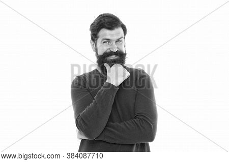 Man Stylish Hairstyle And Beard Making Decision. Businessman Concept. Attractive Mature Man. Bearded