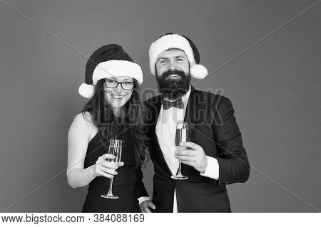 Sincere Greetings. Merry Christmas. Office Party. Couple At Corporate Party. Happy New Year. Bearded