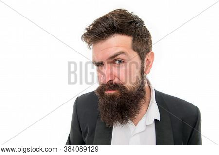 Its Time To Shave Beard Off. Hipster With Beard And Mustache Hair. Bearded Man Isolated On White. Be
