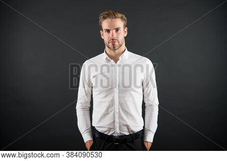 Serious Handsome Unshaven Guy In Formal Style With Fashion Look Grey Background, Man.