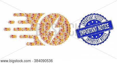 Important Notice Grunge Round Stamp Seal And Vector Fractal Collage Electric Charge. Blue Stamp Seal