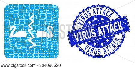 Virus Attack Unclean Round Stamp And Vector Recursion Mosaic Divorce Swans. Blue Stamp Includes Viru