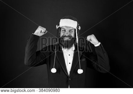 Success Gesture. Business Santa Wish You Financial Growth. Businessman Santa In Jacket. Christmas Pa