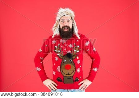 Cheerful Hipster Bearded Man Wear Christmas Jumper And Hat. Loving Cold Weather. Christmas Tradition