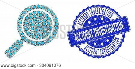 Accident Investigation Rubber Round Seal And Vector Recursive Collage Search Loupe. Blue Seal Has Ac