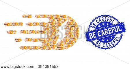 Be Careful Unclean Round Seal Imitation And Vector Recursive Composition Electric Strike. Blue Stamp