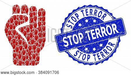 Stop Terror Corroded Round Seal Imitation And Vector Recursive Mosaic Clenched Fist. Blue Seal Inclu