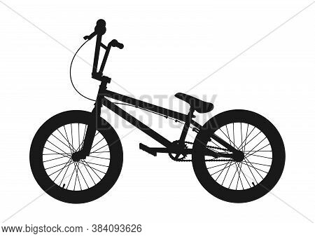 Bmx Bicycle Silhouette. Vector Illustration Of Black Bike On White Background