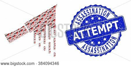 Assassination Attempt Grunge Round Seal Imitation And Vector Recursion Mosaic Bloody Knife. Blue Sta
