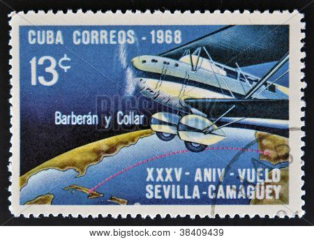 CUBA - CIRCA 1968: A stamp printed in Cuba dedicated to Anniversary of Flight Sevilla - Camaguey by