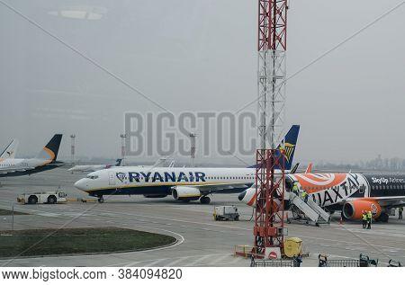 Kyiv, Ukraine - November 27, 2019: Ryanair Boeing Plane On The Runway Of Boryspil Airport, Ukraine.