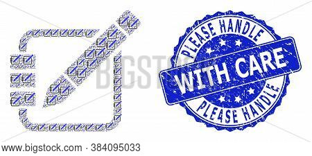 Please Handle With Care Textured Round Seal Print And Vector Recursive Collage Edit Records. Blue St