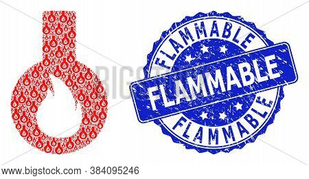 Flammable Dirty Round Stamp Seal And Vector Recursion Mosaic Flammable Flask. Blue Stamp Contains Fl