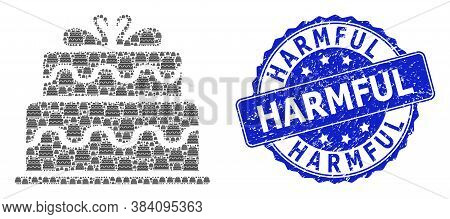 Harmful Grunge Round Seal Print And Vector Recursive Collage Marriage Cake. Blue Stamp Seal Has Harm