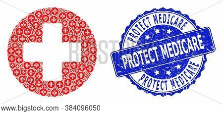 Protect Medicare Rubber Round Seal Print And Vector Recursive Collage Medical Cross. Blue Stamp Seal