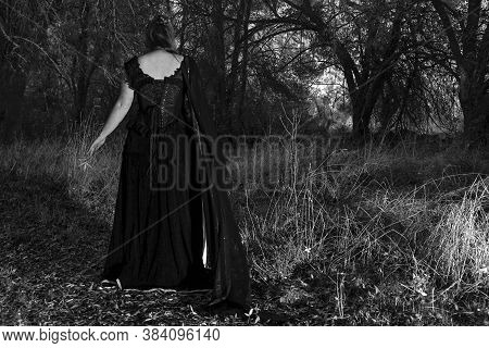 Woman In Dark Classical Clothes, In The Middle Of The Forest