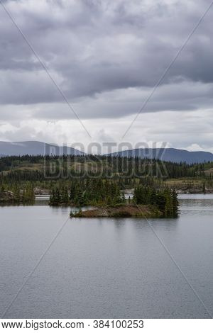 Beautiful View Of Lewes Lake During A Cloudy Summer Day. Located Near Whitehorse, Carcross, Yukon, C