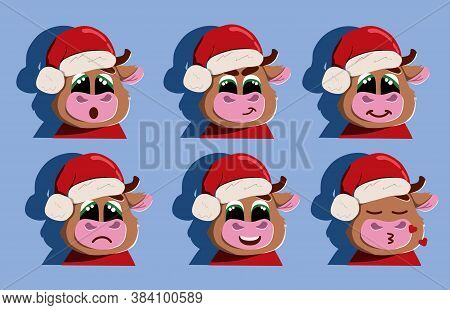 Emotions Of The New Years Bull. Stock Vector Illustration. New Year 2021.stickers Of Emotions