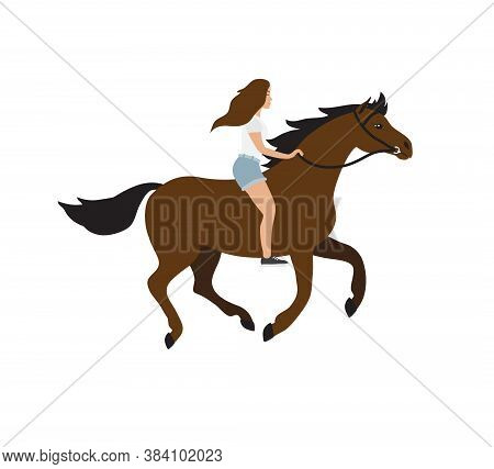 Vector Flat Cartoon Hand Drawn Girl Riding Bay Horse Bareback Isolated On White Background