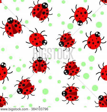 Ladybug Vector Pattern Design, For Textile, Printing, Etc.