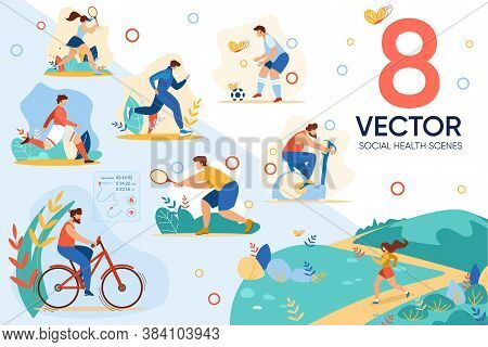Sport Lifestyle. Active Recreation. Social Health Scene Set. Man Woman People Character Cycling, Jog