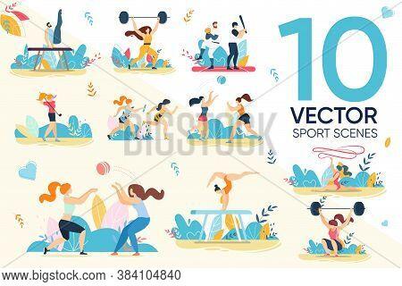 Professional Sportsman Character Sport Scene Set. Man Woman Gymnast, Baseball Volleyball Player, Mar