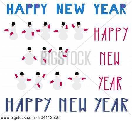 Happy New Year Design Set. Text And Snowman Signaling Happy New Year With Maritime Semaphore System.