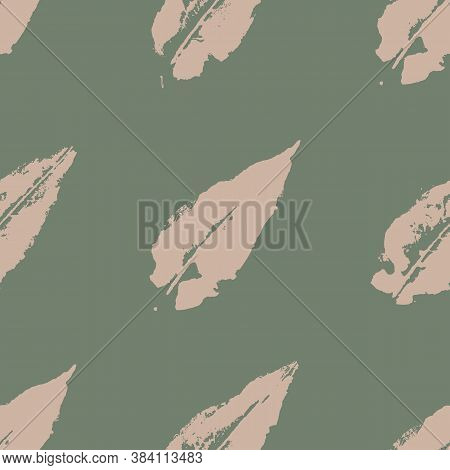 Watercolor Stamp Autumn Fall Tree Green Beige Leaf Vector Seamless Pattern Texture Background