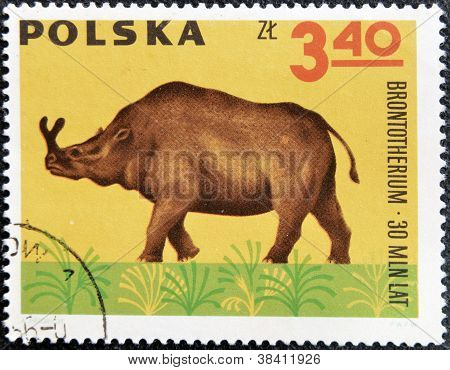 POLAND - CIRCA 1966: A stamp printed in Poland shows Archaeopteryx from the series Dinosaurs Prehist