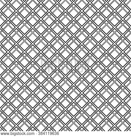 Seamless Surface Pattern With Diamond Contours Ornament. Black Rhombuses Outlines On White Backgroun