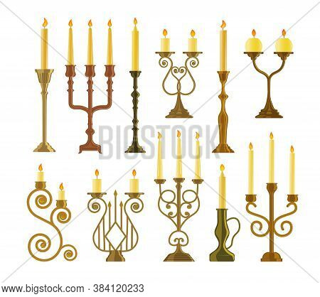 Candlestick Icon. Vintage Candelabrum Or Candlestick With Burning Wax Candle Flame Set. Vector Elega