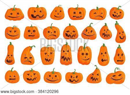Halloween Pumpkin Icon. Creepy Halloween Pumpkin Icon Isolated Set. Spooky Gourd With Different Jack